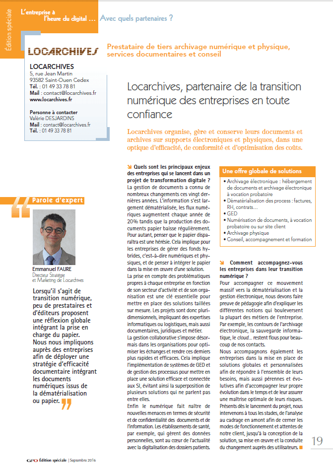 Article Locarchives GPO hors série septembre 2016